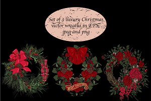 Christmas vector wreath set, clipart