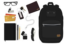 EDC set. Every day man items. Vector