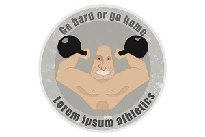 Stone emblem with strongman. Vector