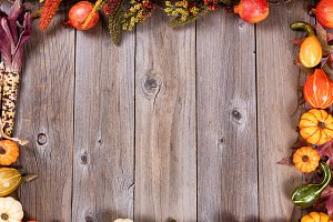 Autumn Borders on Rustic Wood