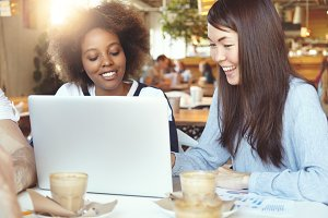 Young female friends having coffee break, sitting at cafe in front of laptop with copy space for your text or promotional content, using computer for sharing ideas on common business project