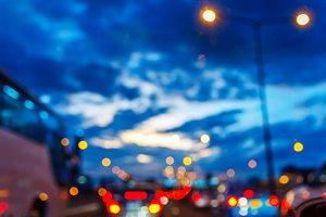 Blurred traffic jam