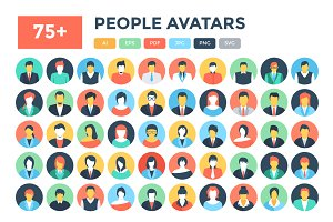 90 Flat People Avatar Icons