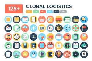 125+ Flat Global Logistics Icons