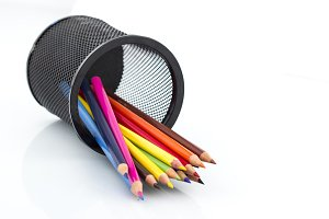 Colored pencils in pencil stand