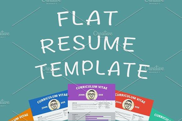 Flat resume template - HTML