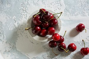 delicious cherries. overhead