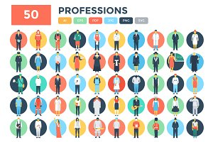 50 Flat Professions Vector Icons