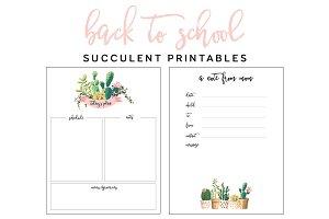 Succulent Planner Printables