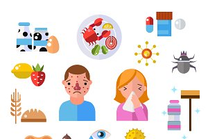 Allergy symbols disease vector
