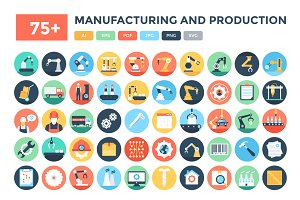 75+ Manufacturing & Production Icons