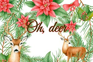 Christmas deer clipart