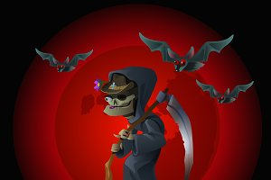 Death on red background and bats