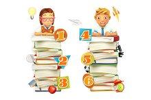 Schoolchildren. Vector 3d graphics