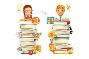 Schoolchildren. Vector 3d graphics