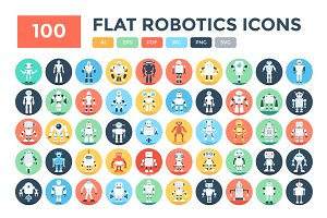 100 Flat Robotics Vector Icons