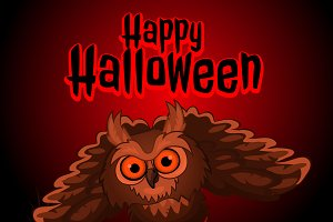 Owl on red background Halloween card