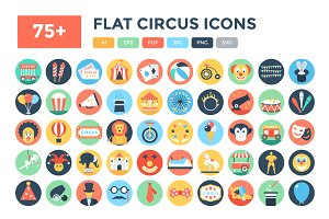 75+ Flat Circus Vector Icons