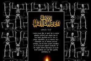 Halloween card with thematic symbols