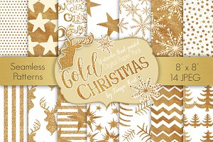 Gold Christmas Digital Paper Pack
