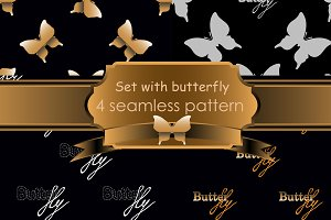 Seamless pattern with gold butterfly