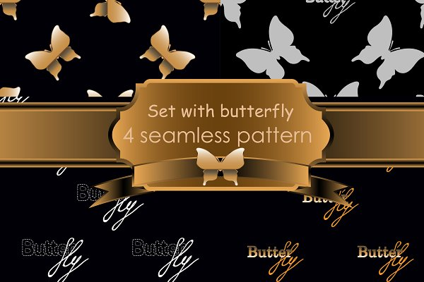 Seamless pattern with gold butterfl…