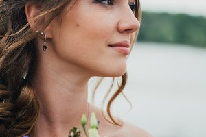 portrait of a beautiful young bride close-up