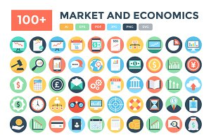 100+ Flat Market and Economics Icons