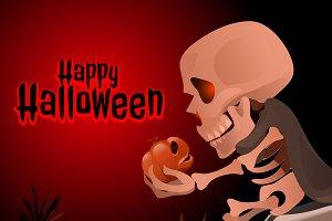 Halloween skeleton with pumpkin