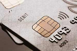 Samara, Russia-July 25.2016: debit Visa credit card chip sign contactless payment
