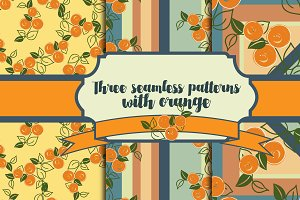 3 seamless patterns with orange