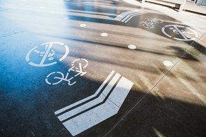 sign cyclist and pedestrian ban on the background of asphalt road