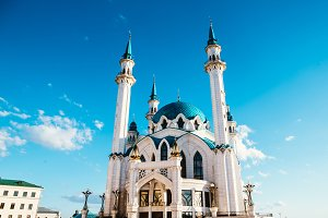 Kul Sharif mosque in Kazan Kremlin under clouds summer