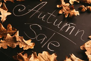 yellow leaves and the words autumn sale on a blackboard vintage style