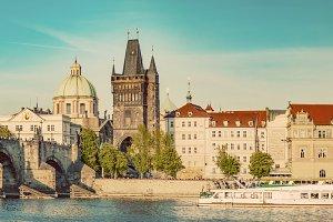 Panorama of Prague. Vintage.