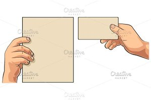 Male hand holding blank paper