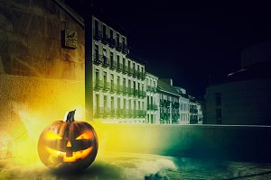Cold Halloween night in the city