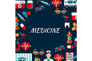 Medicine poster with icons