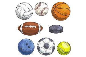 Hand drawn sport balls