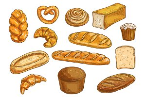 Bread and bakery shop objects