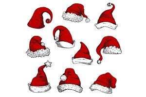 Santa red hats set