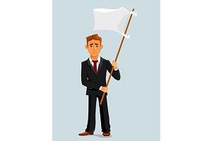 Businessman holds white flag