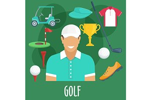 Golf sport and equipment icons