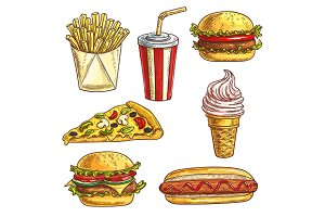 Fast food sketch icons