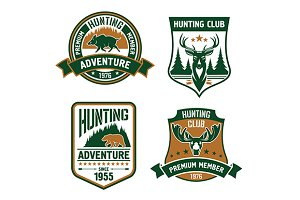 hunting sport shields and icons