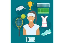 Tennis sport equipment icons