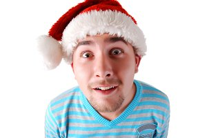 funny man in a red christmas hat