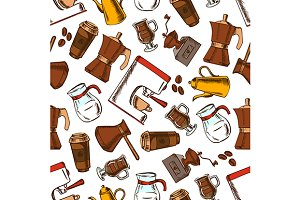 Coffee drinks seamless pattern