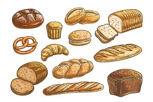 Bread and bakery food sketches