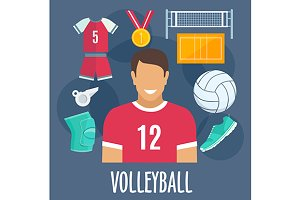 Volleyball sport and equipment icons